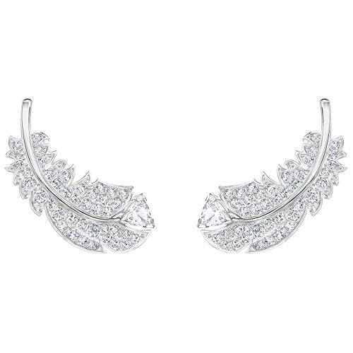 Swarovski Crystal Naughty Clear Feather Earrings, Rhodium-Plated