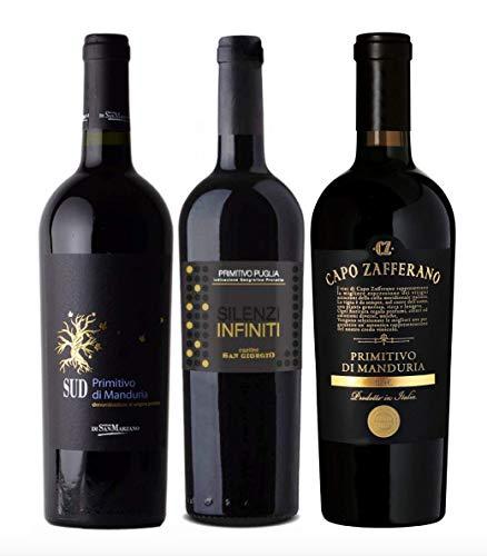 3er Probierpaket Primitivo zum Kennenlernen | hochwertige Rotweine aus Italien | 3 x 0,75l
