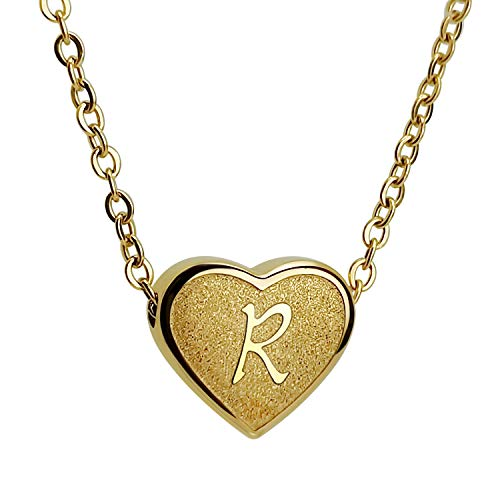 CHENGMEN Gold Plated Necklace Initial R Heart Choker Necklaces for Women Funny Gifts Gold Jewellery for Women