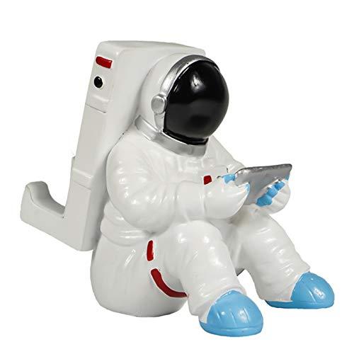 YUHUA Astronaut Mobile Phone Stand Resina de Escritorio Astronaut Tablet Phone Holder Case para iPhone iPad Spaceman Teléfono Celular Home Office Desk Mount, Sentado