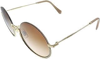 Miu Miu MU 69US ZVN1Z1 Gold Metal Round Sunglasses Brown Gradient Lens