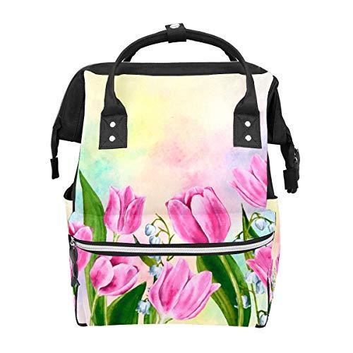 Bolsa de viaje de pañales dibujada a mano Tulip multifunción bolsa de viaje mochila funcional escuela bolsa para mujeres hombres