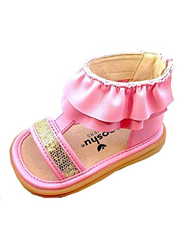 Mooshu Trainers-Lucy Ruffle Girls Squeaky Sandals 3 Baby- 9 Toddler (4, Pink)