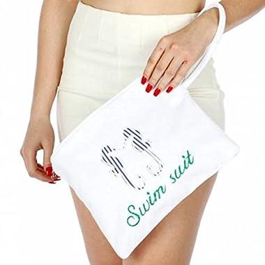 Knitting Factory Water Proof Cotton Towel Wet Bikini Bag Sea Horse Selection (White)