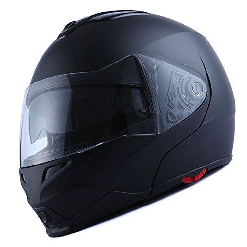 1Storm Motorcycle Street Bike Modular/Flip up Dual Visor/Sun Shield Full Face Helmet (MattBlack, X-Small)
