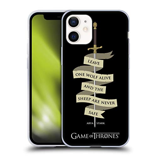 Head Case Designs Officially Licensed HBO Game of Thrones Arya Quote Needle Graphics Soft Gel Case Compatible with Apple iPhone 12 Mini