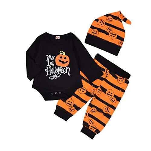 Eghunooye Babykleidung Set My 1st Halloween Langarm Body Tops Kürbis Bedruckte Hosen mit Mütze Weich Baumwolle Kleinkind Baby Junge Bekleidungset Outfits (Schwarz, 12-18 Monate)