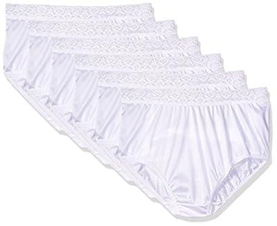 Fruit of the Loom Women`s 6-Pack Nylon Brief Panties White,7