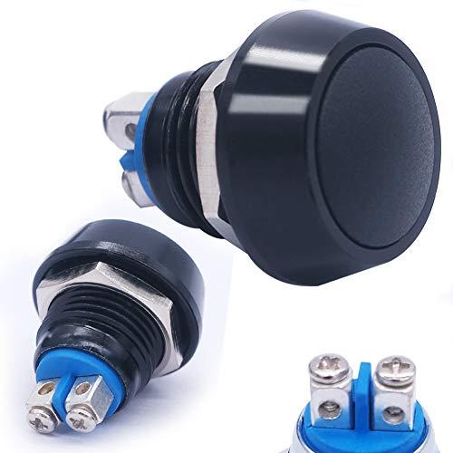 Mxuteuk - Interruptor de botón momentáneo de 12 mm, impermeable, 1 NO SPST DC/AC 36 V 2 A, con carcasa de metal negro, apto para orificio de montaje de 1/2 pulgadas, DU-12AB-10BK