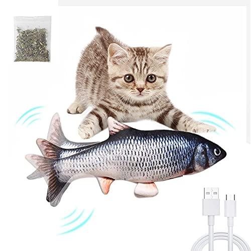 KONGMING Pesce Giocattolo Gioco per Gatto,Giocattolo Elettrico per Gatti, USB Carica del Giocattolo Pesce, Giocattoli per Gatti Perfetto per i Gatti Interni interattivi, mordere, Masticare e calci
