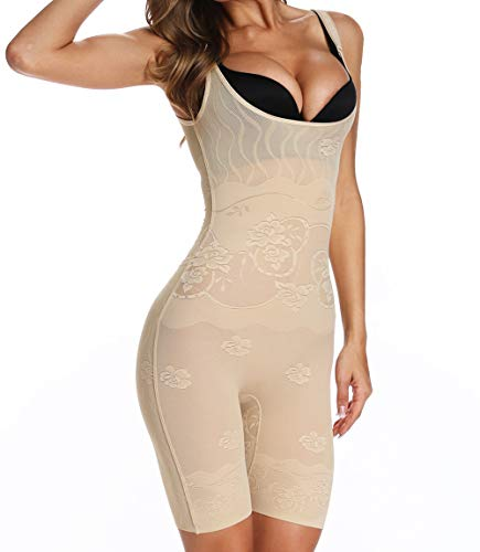 MISS MOLY Body Shaper Damen Shapewear Figurformender Taillenformer Bauchweg Bodys Shaping Bodysuit Nahtlose Mieder Angenehme Miederbody mit Beine