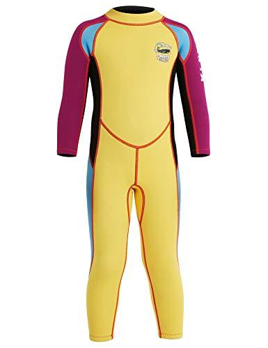 Echinodon Jungen Neoprenanzug UPF 50+ 2.5MM Neopren Schwimmanzug Langarm UV Schutz Badeanzug für Baby Kinder Gelb XXL