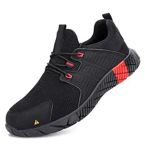 Acreny Hombres Botas de Seguridad de Acero Puntera Cap Zapatos de Trabajo Senderismo Anti-pinchazos Deporte al aire libre, 44