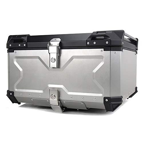 Baúl de Moto Universal 100L con Llaves y Accesorios Topcase Casco Moto Caja para Motocicletas, Scooters, Ciclomotores,Plata