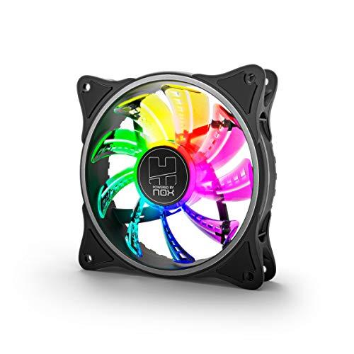 NOX XTREME PRODUCTS -NXHUMMERAFAN- Ventilador PC 120 mm, LED ARGB Rainbow, Ultra silencioso con Pads Goma antivibración, Gran Flujo de Aire, 3 Pines, Color Negro