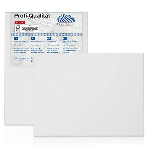 KUNSTACKER 2er Set Premium Leinwand 30x40 auf Keilrahmen - 350g/m² weiß blanko aus regionaler Manufaktur - zum Bemalen mit Acryl, Öl, Tempera u.a. - von Kunstschaffenden für Kunstschaffende