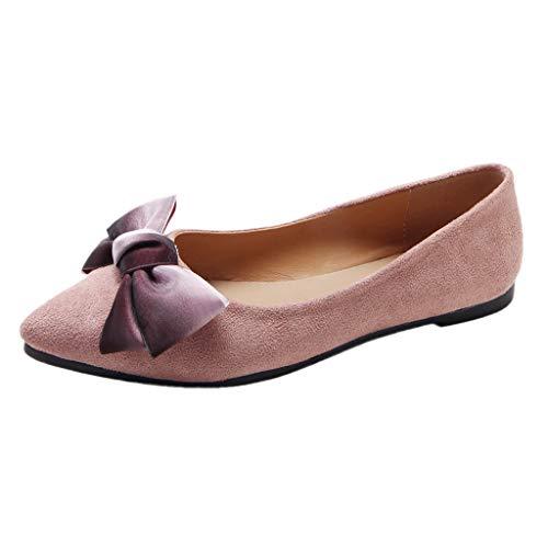 Qmber Damen Sportliche Ballerinas Basic Flandell Klassische Damen Ballerinas Schuhe Basic Flat Espadrilles Flacher Mund Spitze Bogen-Fußarbeit/Pink,40