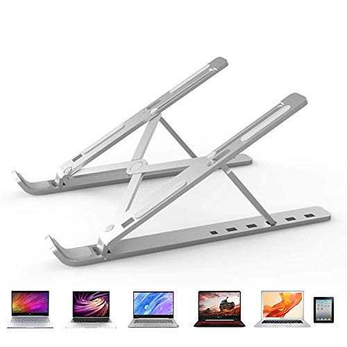 6-Stages Adjustable Laptop Table Stand Aluminum Foldable Computer Ipad Support for Desk Lightweight Campact MacBook Air Pro Riser