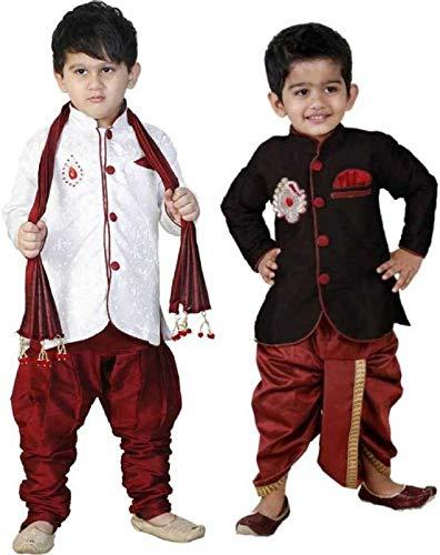 Boys Festive & Party Sherwani With Dupatta & Dhoti Pyjama Set(Pack Of 2)