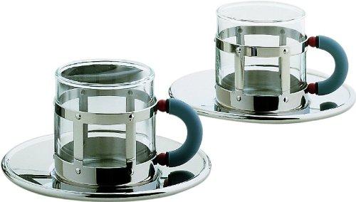 Alessi - MGDT SET - Set di due tazze da caffè con sottotazza in acciaio inossdabile 18/10 lucido e vetro pirofilo. Manico in PA, azzurro.
