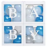 Baby Shower Boxes Party Decorations - 44 pcs, 32 Blue Silver White Balloons, 4 Clear & Transparent Blocks, 8 Letters, First Birthday Centerpiece Decor, Boys & Girls Supplies, Gender Reveal Backdrop
