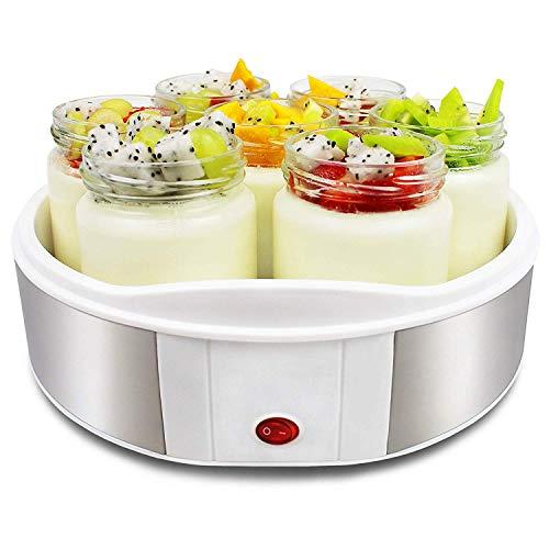 Sotech - Máquina para Yogur Natural y Saludable, Yogurtera, 7 tarros, 23 x 23 x 12 cm, Blanco, Capacidad por frasco: 0,21 L, Potencia: 15 W