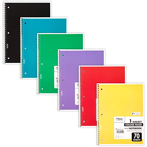 Mead Spiral Notebooks, 1 Subject, College Ruled Paper, 70 Sheets, Colored Note Books, Lined Paper,...