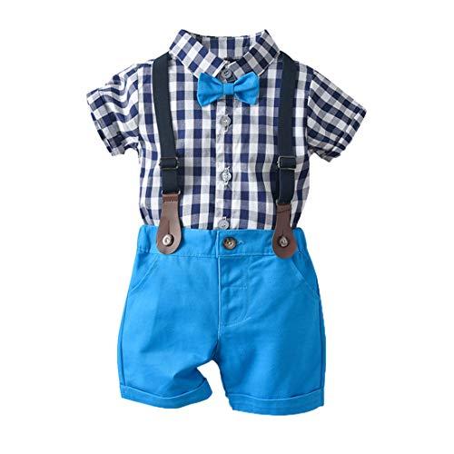 heavKin-Clothes 3 Months-4Years Children's Kids Baby Boy Solid Color Bow-Knot Plaid Short Sleeve Shirt T-Shirt Tops + Strap Shorts Gentry Set (Dark Blue, 3-6 Months)