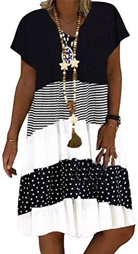 POINWER Damen Sommerkleid Elegant Kurzarm A-Linie Patchwork Freizeitkleid Minikleid Casual V-Ausschnitt Strandkleider Knielang Kleid (Farbe : B Black, Größe : L)
