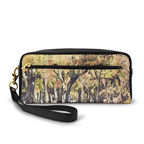 Pencil Case Pen Bag Pouch Stationary,Fine Art of Japan Nara Park Nature Trees Paint,Small Makeup Bag Coin Purse