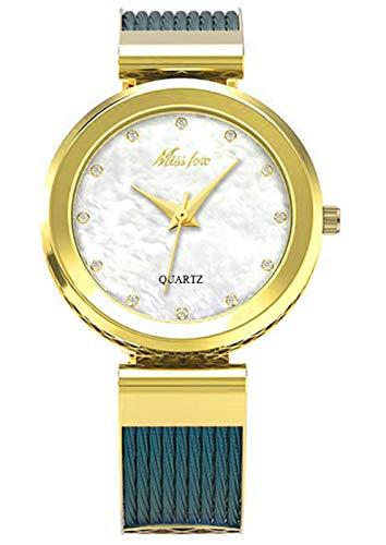 MLHXHX Reloj de mujer, simple y avanzado sentido de impermeable, reloj de moda temperamento de las señoras reloj azul dorado