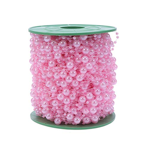 Healifty Artificial Pearls Beads String Roll Pearl Beaded Trim Decoration for DIY Flowers Craft Wedding Party Garland 3mm+8mm Pink