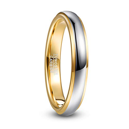 NUNCAD Basic Silver&Gold Tungsten Carbide Ring for Men/Ladies,Special for Wedding Engagement Fashion Lifestyle,Comfort Fit,Size Q½