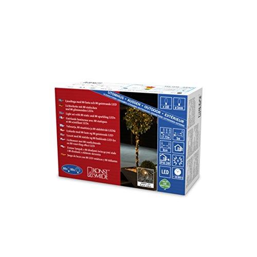 Konstsmide 3641-810 LED Lichterkette, mit Glimmereffekt / für Außen (IP44) / 160 bernsteinfarbene Dioden (80 glimmend) / 24V Außentrafo / schwarzes Kabel