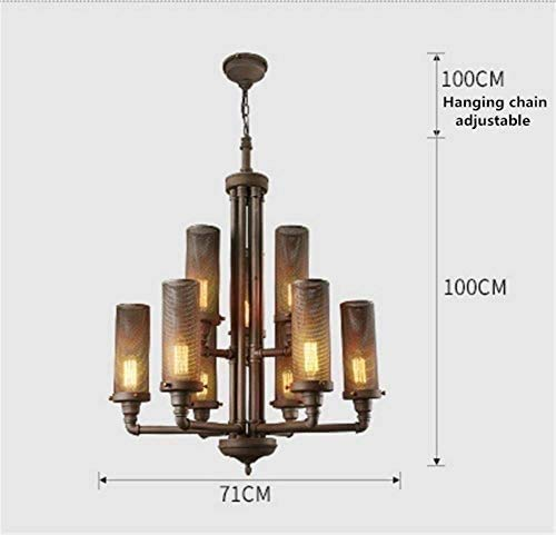 KFDQ Chandelier Industrial Retro Steampunk Loft Wrought Iron Water Pipe 8 Arms Mesh Cage Shade E27 Large Ceiling Light Fixture Lamp for Bar Cafe Dining Room Bedroom Living Room steampunk buy now online