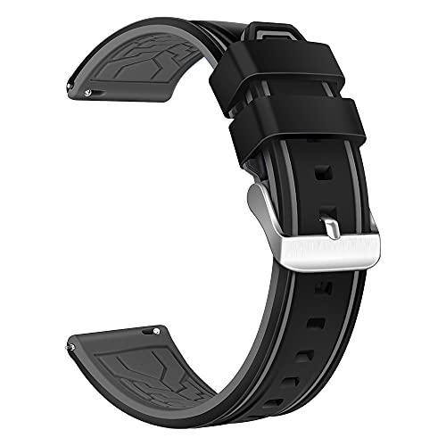 XMUXI Compatible con Samsung Gear S3 Frontier, Samsung Galaxy Watch 46 mm, correa de repuesto de silicona transpirable de 22 mm para reloj inteligente Huawei GT2 (#4).