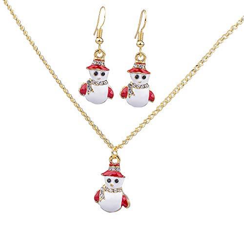 IPOTCH Bonito Colgante de Arete y Gargantilla , Fabricación Joya para Adorno Navidad - Muñeco de Nieve 1