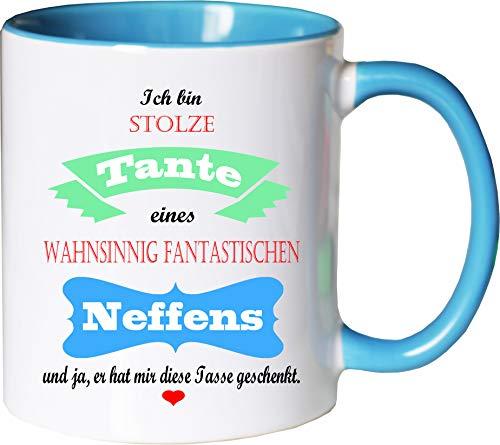 Mister Merchandise Becher Tasse Stolze Tante eines wahnsinnig fantastischen Neffens - Er hat Mir die Tasse geschenkt Kaffeetasse Bedruckt Kaffeebecher Geburtstagsgeschenk Weiß-Hellblau