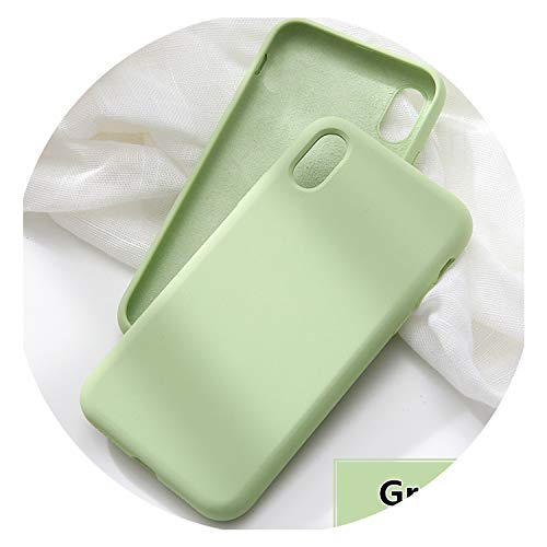 Solid Color Silicone Phone Case for iPhone 6 6S 7 8 Plus Soft Back Cover for iPhone XS Max X XR Case Green for iPhone 7
