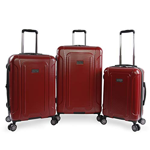 ORIGINAL PENGUIN Crest 2.0-3 Piece Set Expandable Suitcase with Spinner Wheels, Brick Red, One Size
