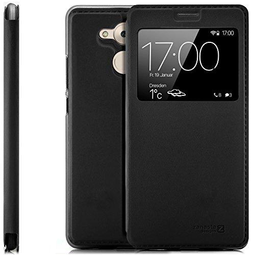 zanasta Designs Tasche Huawei Honor 6C Pro Hülle Schutzhülle Flip View Cover mit Fenster & Kameraschutz | Schwarz