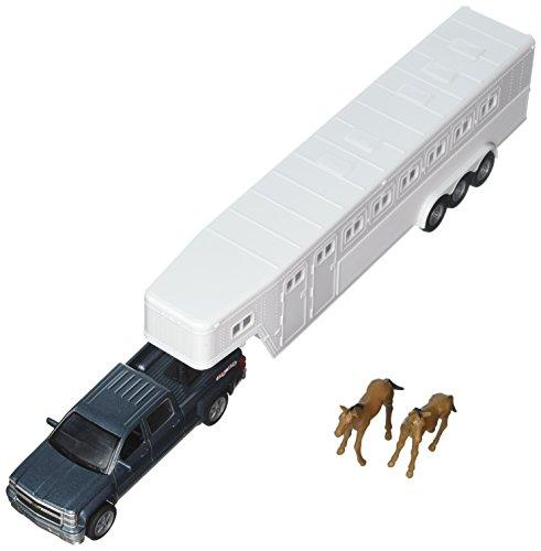 Chevrolet 1:43 Longhauler Silverado 4X4 with Horse Trailer and Horse Figures