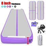 KIKILIVE 10ft Air Track Tumbling Mat, 8 inches Thickness Inflatable Gymnastics Airtrack Mat, Air Floor Mat with Electric Air Pump for Training/Cheerleading
