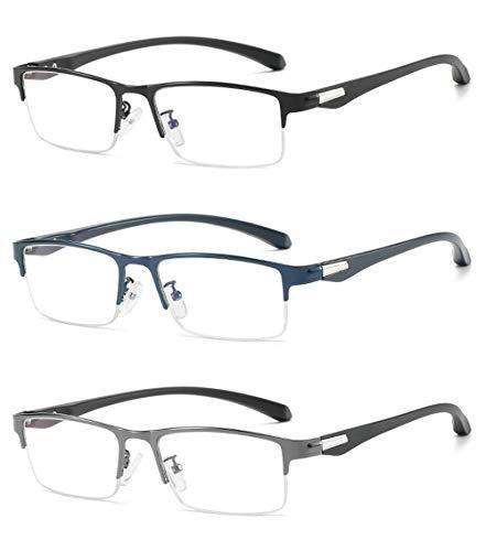 VEVESMUNDO Lesebrille Herren Damen Computer Anti Blaulicht Halbrand Klassische Rechteckig Ultralicht Flexibel Halbbrille Lesehilfe Brille Sehhilfe mit Sehstärke (3 Stück Lesebrillen, 1.5)