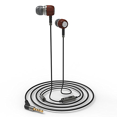 G-Most E8 Genuine Wood in Ear Headphones Earbuds with Microphone, Dual Dynamic Driver Earphones Noise-isolating Headset with Deep Bass and 1 Button Control for iPhone, iPad and Android Devices