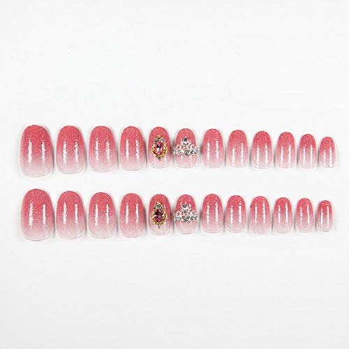 CLOAAE 24Pcs Pink Glitter False Nails 3D Rhinestone Full Cover Art Fake Nails with Artificial Bridal Wedding Imperial Crown Nails