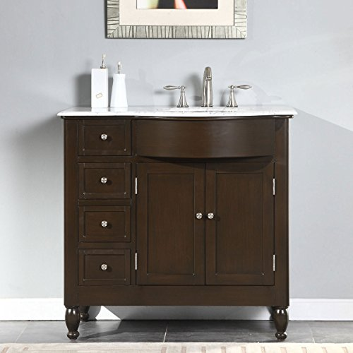 """Silkroad Exclusive HYP-0902-WM-UWC-38-R White Marble Top Right Sink Bathroom Vanity with Furniture Cabinet, 38"""", White"""