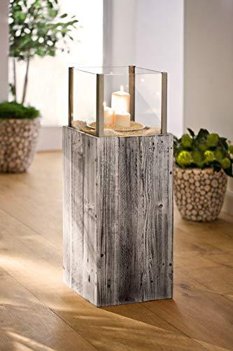 """Dekoleidenschaft Windlicht-Säule """"Pinienholz"""" mit Glaseinsatz Kerzenhalter Kerzenständer Holzsäule Deko"""