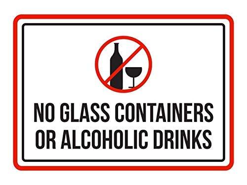 aqf527907 Geen glazen containers of alcoholische dranken zwembad Spa waarschuwingsborden, metalen bord, 8x12 inch
