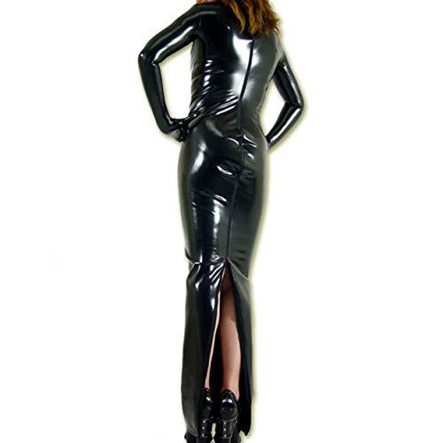 Rubberfashion Sexy Wetlook Damen Kleid lang, glänzendes metallic Wet Look Partykleid Langarm mit Langen Handschuhen Clubware metallic Schwarz M